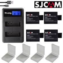 新 4 個 SJCAM sj4000 バッテリー + USB 液晶デュアル充電器 bateria sj7000 sj5000 sj6000 sj8000 SJ M10 ため SJCAM sj4000 sj5000 カメラ