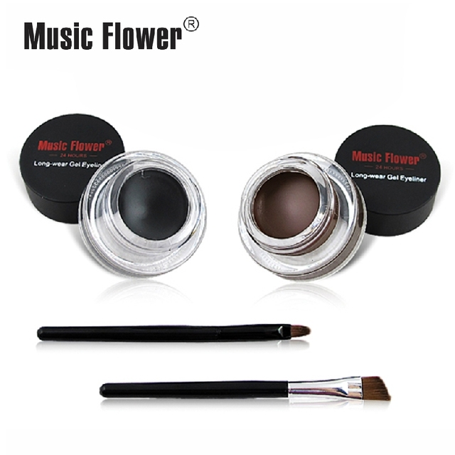 Best 2 in 1 Brown + Black Gel Eyeliner Make Up Water-proof And Smudge-proof Cosmetics Set Eye Liner Kit in Eye Liner Makeup 2