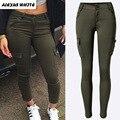 Lápis Calças Stretch 2017 Mulheres de Baixa Cintura Fina Calças Exército Verde de Lazer Bolsos Femme Pantalon