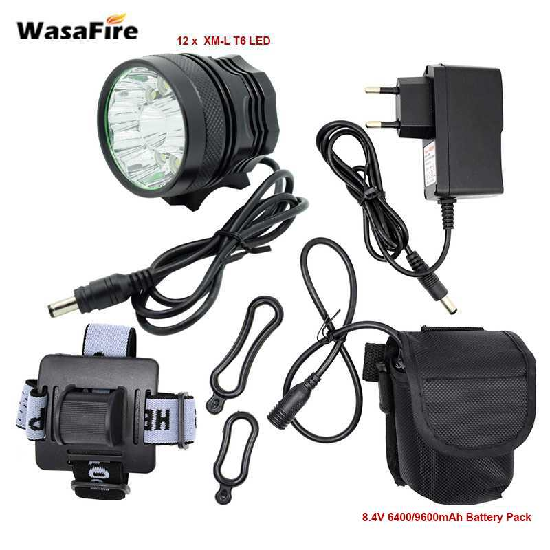 WasaFire LED 2 in 1 Headlight 20000Lumens 12*XM-L T6 LED Bicycle Light Cycling Bike Head Lamp 9600mah 18650 Battery Pack Charger