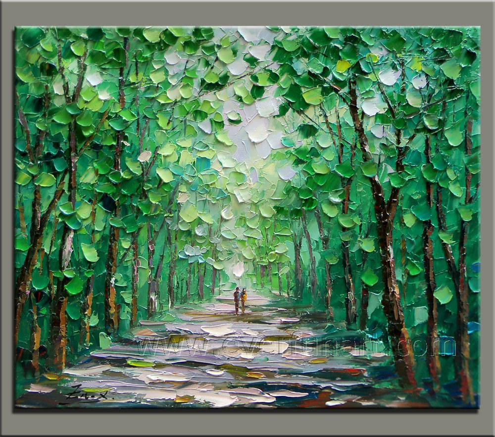 Wooden framed handpainted wall decor abstract knife tree oil painting on canvas free shipping di painting calligraphy dari rumah taman