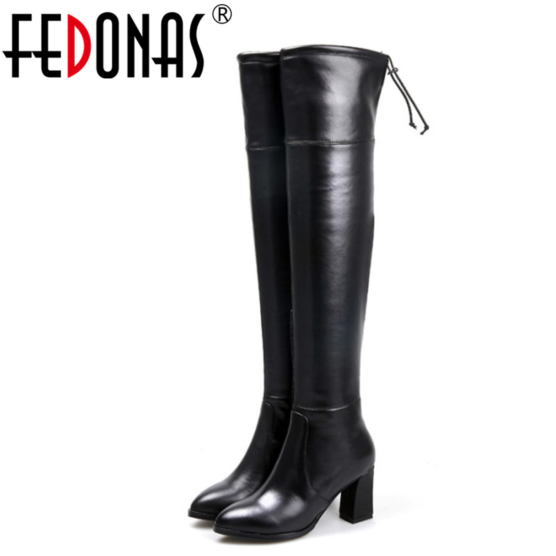 FEDONAS Fashion Genuine Leather Over Knee Boots Women Sexy Pointed Toe Elastic Stretch Thick Heel Thigh High Riding Shoes Woman avvvxbw 2016 new brand long boots fashion elastic over the knee boots shoes woman square heel genuine leather thigh high boots