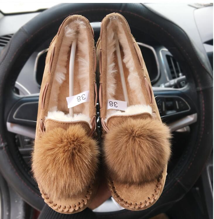 Brand ug Women Winter Snow Boots Suede Genuine cow Leather Real Sheep Fur real Fox Fur Ball Sweet Women Gray Brown Boot 35-42 goncale high quality band snow boots women fashion genuine leather women s winter boot with black red brown ug womens boots