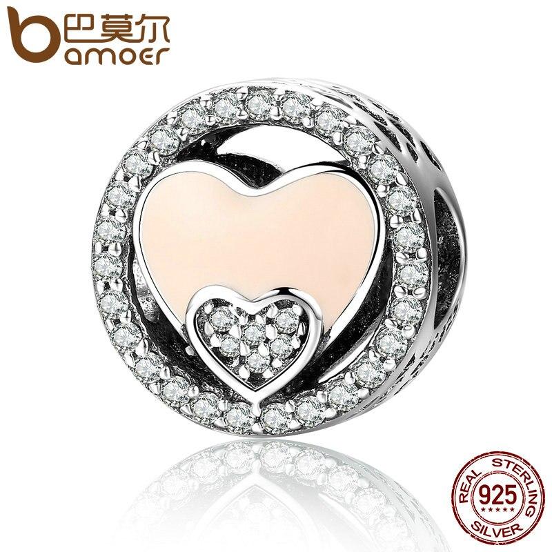 BAMOER plata esterlina 925 dulce corazón doble radiante y brillante CZ cupieron las pulseras del encanto de las mujeres regalo joyería SCC253