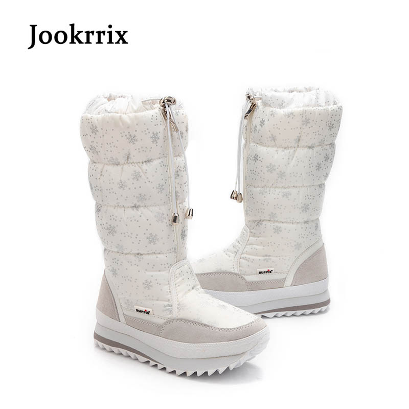 Jookrrix 2017 New Fashion Women Boots Plush Warm Snow Boots Mid Calf Ladies Waterproof Zipper White Snow Flower Botas Black Soft double buckle cross straps mid calf boots