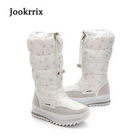 Jookrrix 2017 New Fashion Women Boots Plush Warm Snow Boots Mid Calf Ladies Waterproof Zipper White