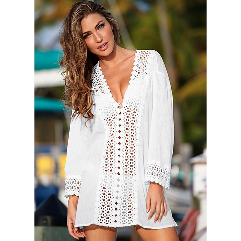 2018 WOMEN LACE CROCHET BIKINI BEACHWEAR COVER UP Hollow Out V-Neck BEACH DRESS SUMMER Cover-Ups sexy plunging neck 3 4 sleeve hollow out tassels embellished cover up for women