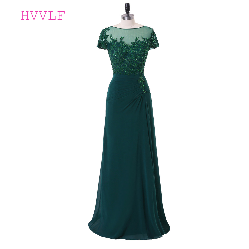 Green   Evening     Dresses   2019 A-line Cap Sleeves Chiffon Beaded See Through Lace Slit Long   Evening   Gown Prom   Dresses   Robe De Soiree
