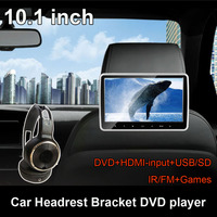 10.1 Inch TFT LCD Wide Digital Touch Screen Car Headrest DVD Player Multimedia Player Monitor with HDMI USB SD Port