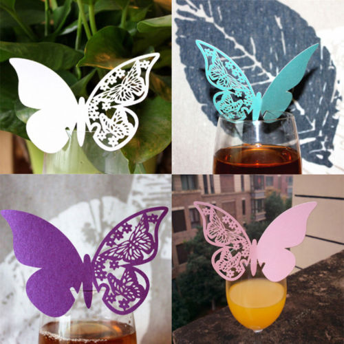 2018 Beautiful 50PCS Hollow-out Butterfly Wedding Wine Glass Card DIY Decorative Card
