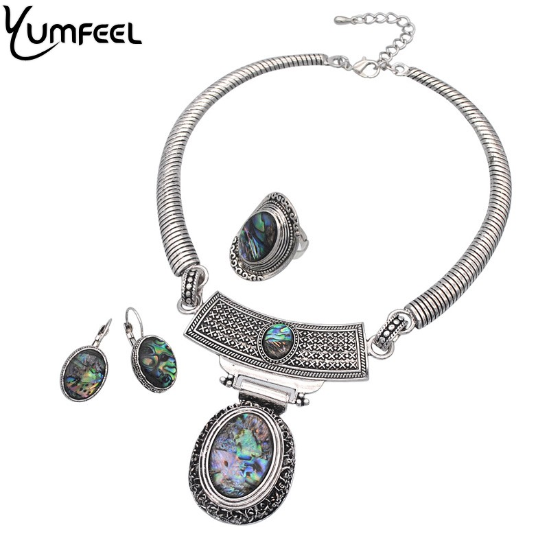 Yumfeel Brand New Vintage Boho Jewelry Set Antique Perak Disepuh Shell Choker Kalung Anting-Anting Cincin Perhiasan Set Wanita