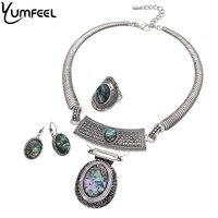 Yumfeel Hiệu New Vintage Boho Jewelry Đặt Antique Bạc Mạ Vỏ Choker Necklace Earring Nhẫn Trang Sức Đặt Phụ N