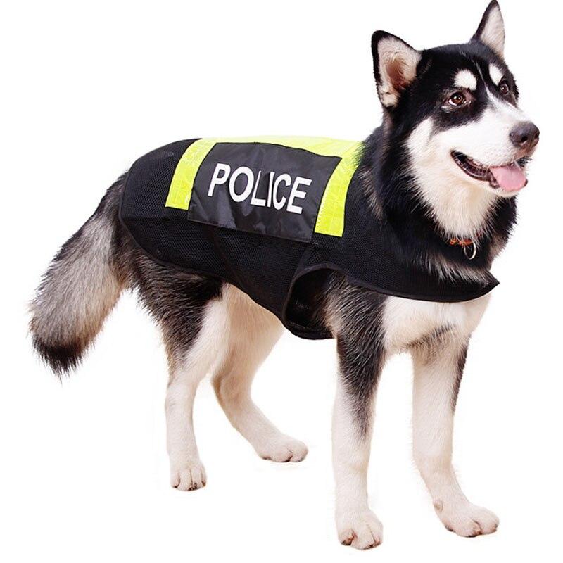 Grote Hond Reflecterende Vest Werkende Hond Politie Kostuums Kleding Ademende Stof Patrol Stijl Voor Golden Bulldog Husky