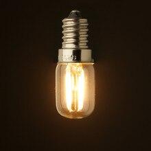 Lâmpada iluminação retrô led, 1w 2w, 2200k, e12 e14 base, ampola de edison t20, vidro transparente, 110v 220vac, regulável