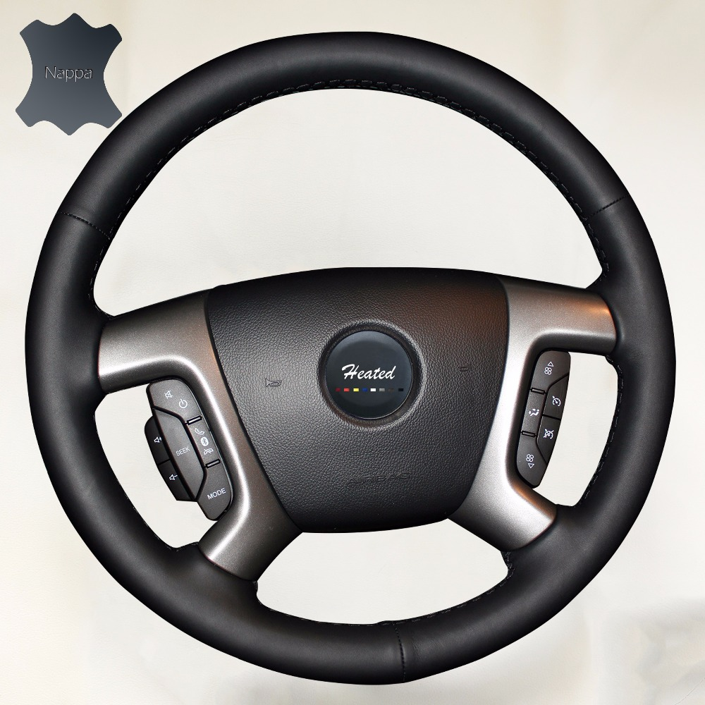 Nappa leather Braid on the Steering wheel cover for Chevrolet Captiva Silverado GMC Sierra 2007 2013
