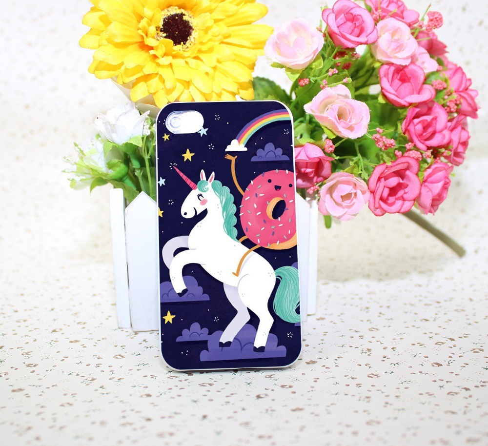 UNICORN DONUT RAINBOW GIRLY FUNNY MEME CUTE White Hard phone Case Cover for iPhone 4 4s 5 5s 5c 6 6s plus Free Shipping
