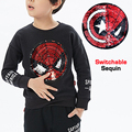 Autumn Spring spiderman captain switchable sequin embroidery boys sweatshirt tee kids fashion tshirt children tops 2 to 12 yrsy