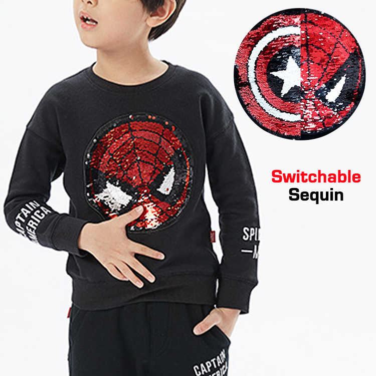 bcc807b140a5e Spring Autumn baby tee boys sweatshirt kids t shirt children tops spiderman  captain switchable sequin embroidery