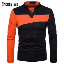JACKEYWU Polo Shirt Men 2019 Summer Fashion Contrast Color Long Sleeve Tees Cotton Breathable Camisa Elastic Casual Polos