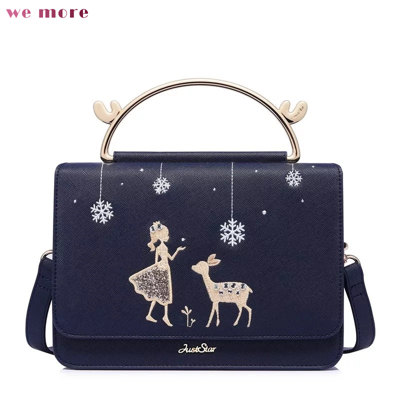 we more Women's PU Leather Handbags Ladies Night Sky Fawn Shoulder Tote Purse Female Leisure Embroidery Flap Messenger Bags