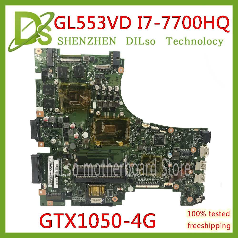KEFU GL553VD For ASUS GL553V GL553E GL553VW laptop motherboard GL553VD mainboard I7 7700HQ GTX1050 Test original motherboard