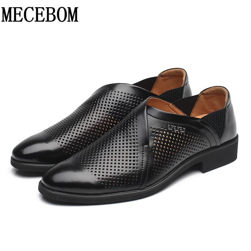 Zapatos del agujero del verano de los hombres de oxford negro slip-on casual zap