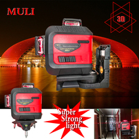 MULI Super red3D12 line laser line level 360 self leveling waterproof shockproof height accurate touch key large lithium battery