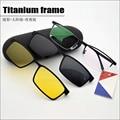 Half frame titanium frame moldura de vidro miopia óculos homens óculos de sol à noite-com óculos de visão polarizada clipe conjunto de ímã lente