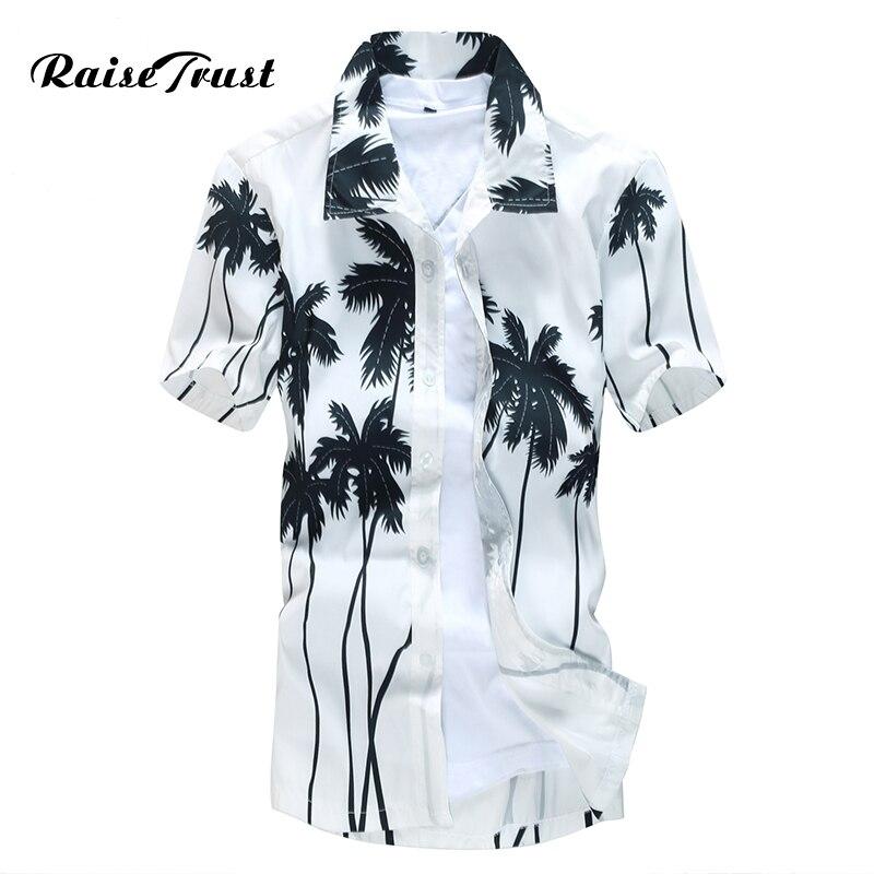 Гавайская рубашка мужская мужской Повседневное Camisa masculina печатных Пляжные рубашки короткий рукав брендовая одежда Бесплатная доставка Азиатский Размеры 5xl