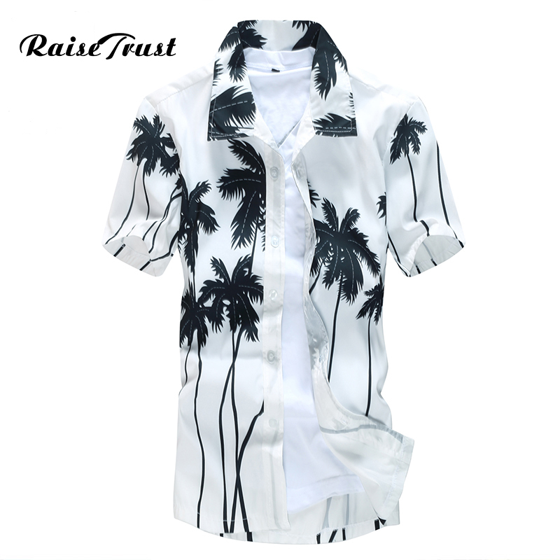 Herren Hawaiihemd Männlichen Casual camisa masculina Gedruckt Strand Shirts Kurzarm marke kleidung Kostenloser Versand Asiatische Größe 5XL