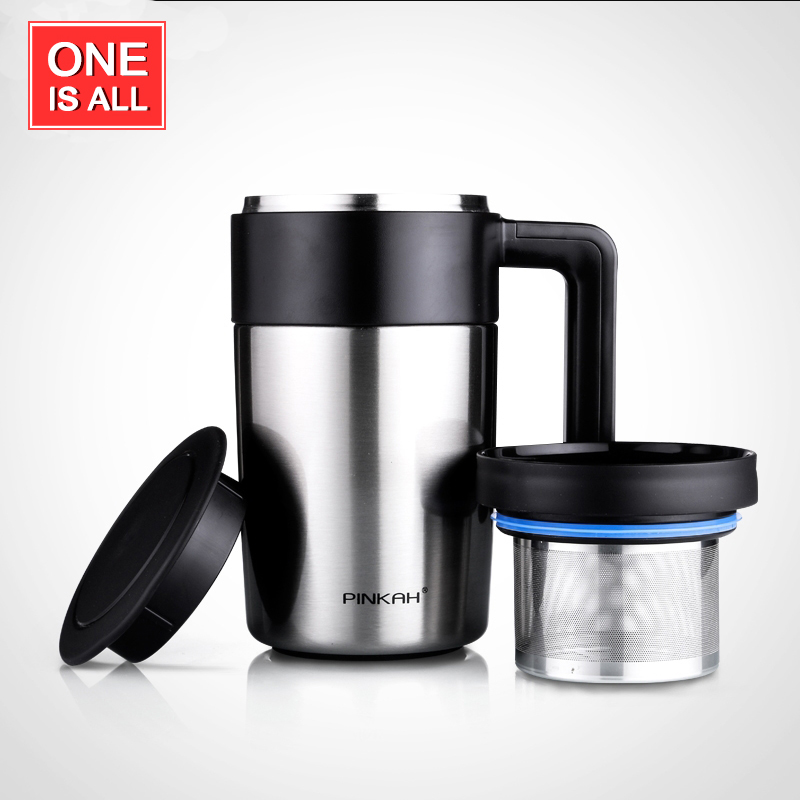 450ML Thermos <font><b>Cup</b></font> With Tea Infuser <font><b>Stainless</b></font> <font><b>Steel</b></font> Thermo Mug With <font><b>Handle</b></font> Coffee Pot Kettle Vacuum Flask <font><b>Cup</b></font> For Male Gift