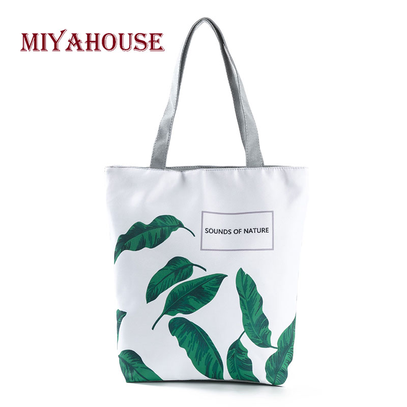 Leaves Design Beach Bags Female Single Shoulder Shopping Bag Letter Printing Canvas Tote Bags