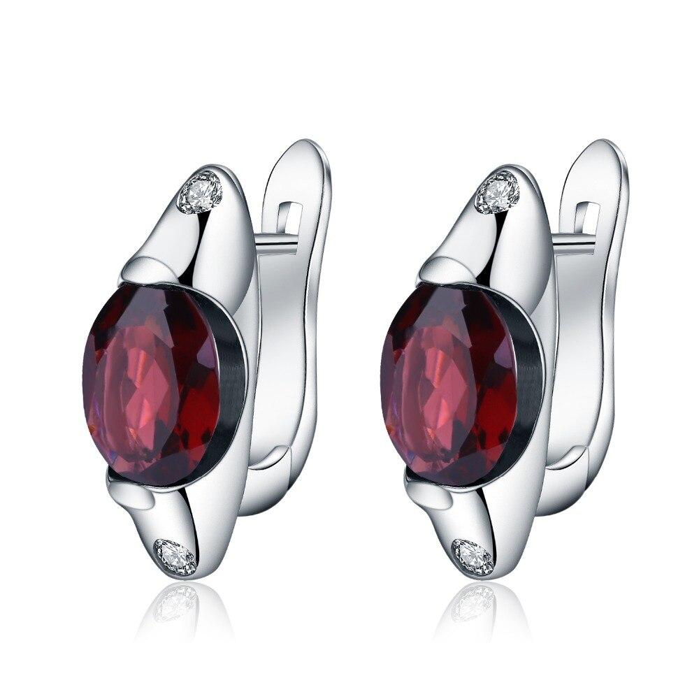 Gem's Ballet Natural Red Garnet Gemstone Clip Earrings Fine Jewelry 925 Sterling Silver Solid Oval Earrings For Women Wedding