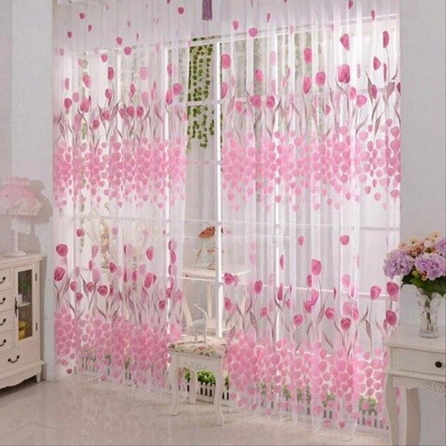 Floral Printed Window Curtain Pink Tulip Flower Bedroom Home ...