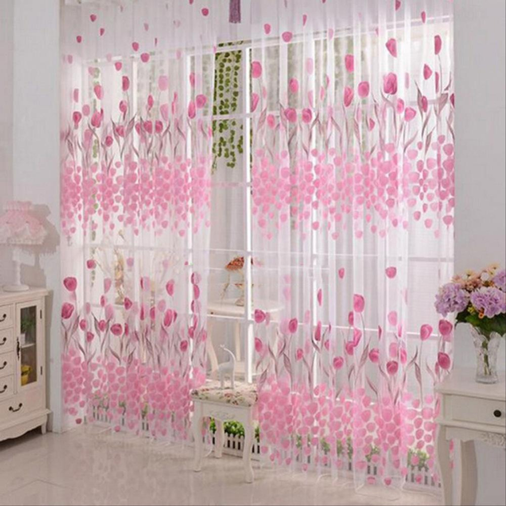 Floral Printed Window Curtain Pink Tulip Flower Bedroom Home Decoration Voile Divide Screen Curtains For Living Room cortina