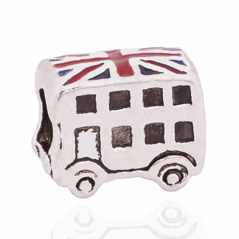 New Arrival 1PC European Silver Color Enamel London Bus car Large Hold Bead Charms Fits Pandora Imitation Bracelet Jewellery