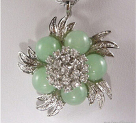 FREE SHIPPING>>>@@ 11.23 Natural Light Green stone Crystal Flower White Pendant & Necklace Discount 35%