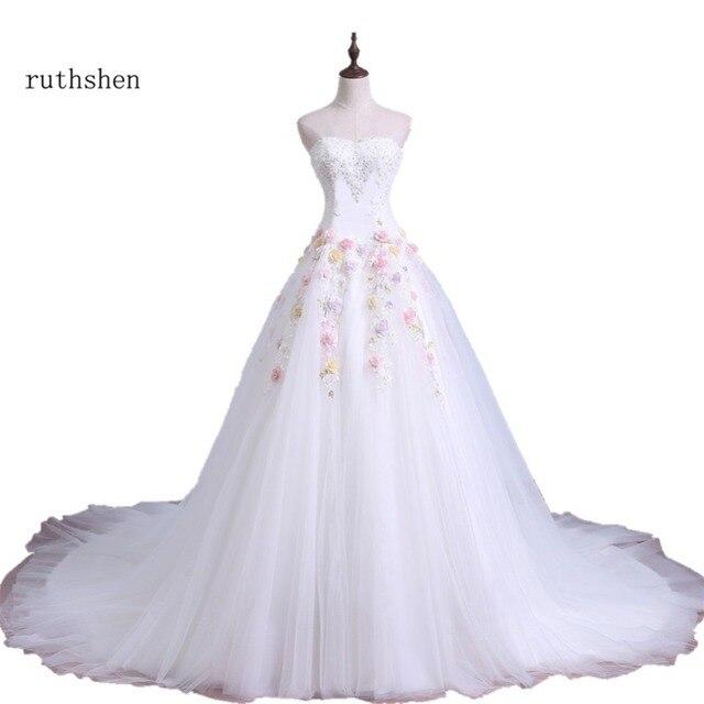 ruthshen 2018 Ball Gown Wedding Dresses Off Shoulder Flowers Beaded  Detachable Train Luxury Vestidos De Noiva Bridal Gowns 67331b604b86