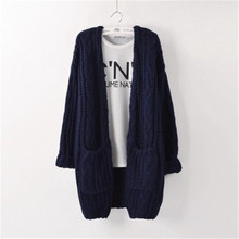 Women Wool Sweater Cardigan Women Sweater Cashmere Knitted Coat Fashion Long Sleeve Loose Knitted Sweater With Pockets