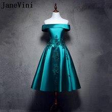 JaneVini Чай-Длина с открытыми плечами для мамы невесты платья с кружевные цветы Для женщин свадебные вечерние платья атласная линия