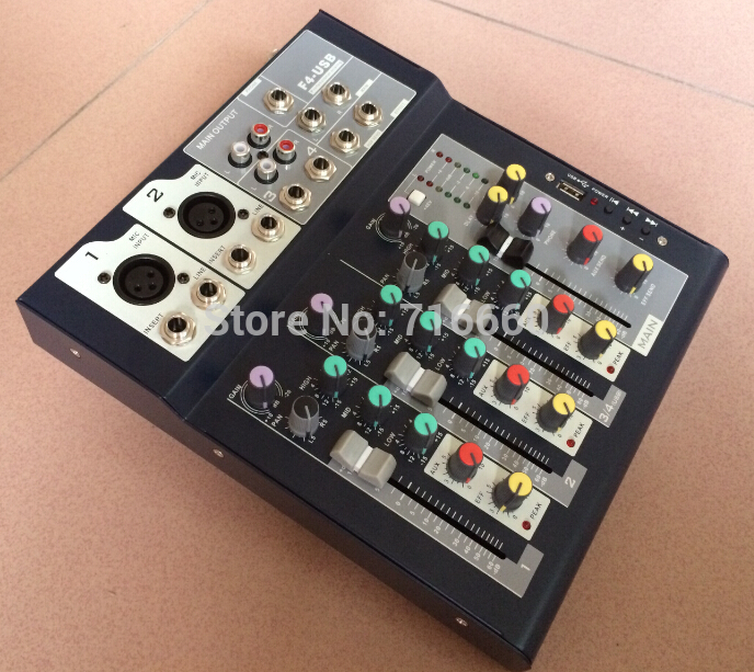 Free Shipping F4 USB Mini Audio Mixer Console with USB Built in effect processor 4 channel