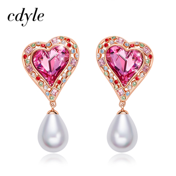 Cdyle Pearl Earrings Heart Jewellery Embellished