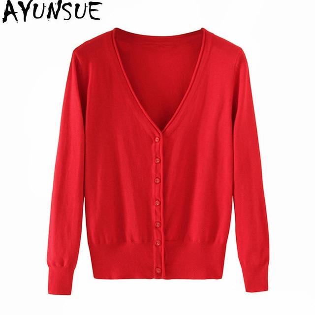 AYUNSUE נשי הסרוגה שרוול ארוך סוודר קרדיגן נשים סרוג אפודות נשים סוודר קצר קרדיגן עם כפתורים WXF246