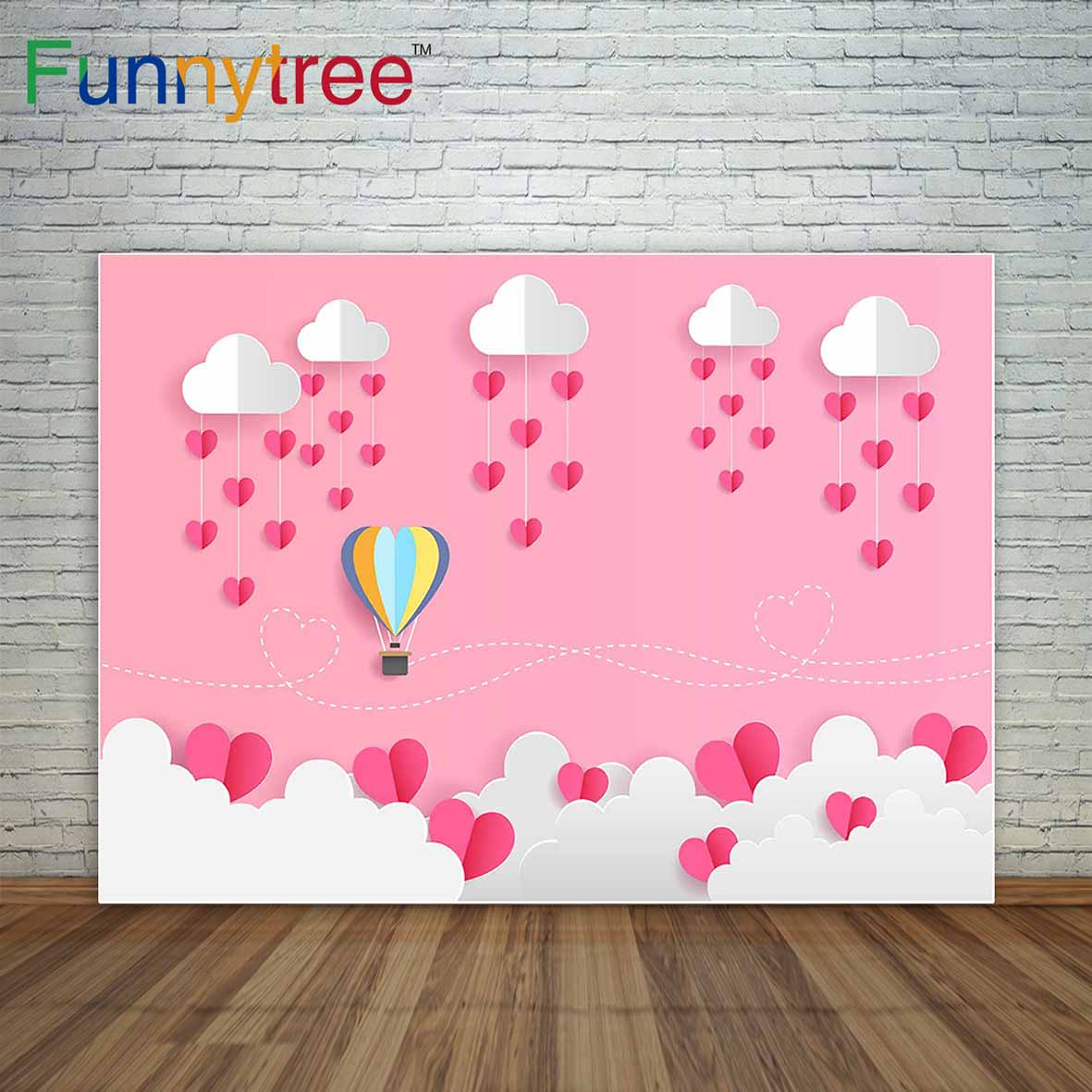 Pink Children Background Love Heart hot air Balloons Cloud Valentine's Day Backdrop photography backdrops a photo