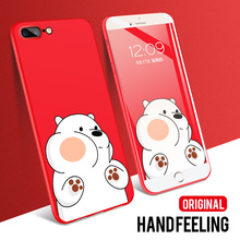 цена на IIOZO Cute Bear Case for iphone 7 8 Frosted Matte Hard Plastic Red Phone Back Cover Case For Apple Iphone 7plus 8plus