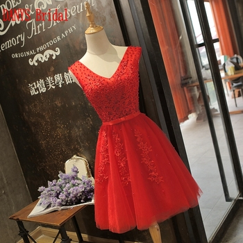Red Beautiful Short Cocktail Dresses Womens Tulle Prom Coctail Dress for Party jurk vestidos de coctel renda