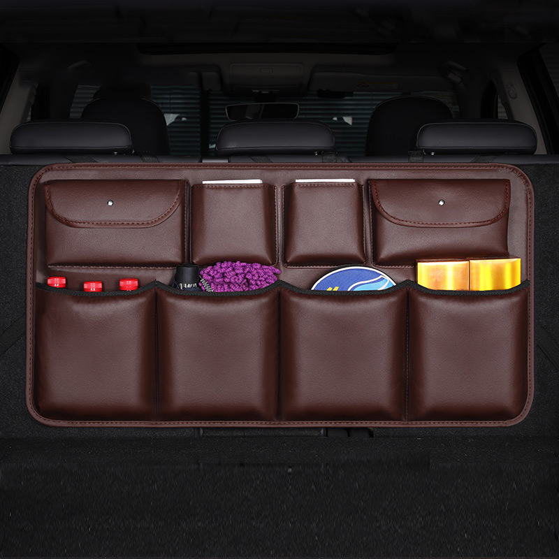 Universal Car Trunk Organizer Adjustable Backseat Storage Bag Net High Capacity Multi use PU Auto mobile Seat Back Organizers in Stowing Tidying from Automobiles Motorcycles