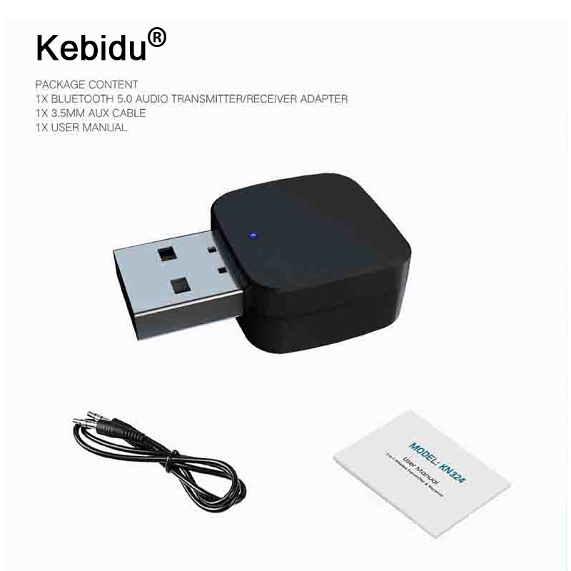Kebidu 2 In 1 Bluetooth 5,0 Empfänger Sender Bluetooth Wireless Adapter Audio Mit 3,5 Mm Aux Audio Stereo Für Hause Tv Mp3 Pc