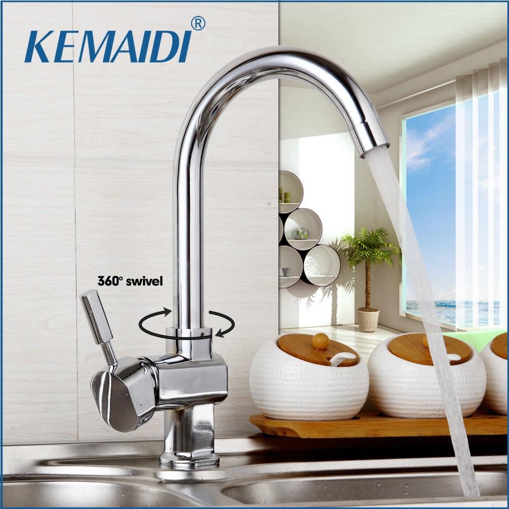 KEMAIDI Deck Mount Taps 360 Swivel New Design Kitchen Sink Faucet Taps Polish Chrome Finish Hot