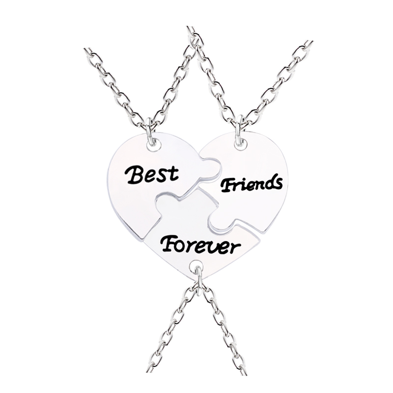 <font><b>3</b></font> Pieces / Set Of Best <font><b>Friend</b></font> <font><b>Necklace</b></font> <font><b>For</b></font> Women Broken Heart Stitching Pendant <font><b>Necklace</b></font> Men And Women Friendship <font><b>BFF</b></font> Jewelry image